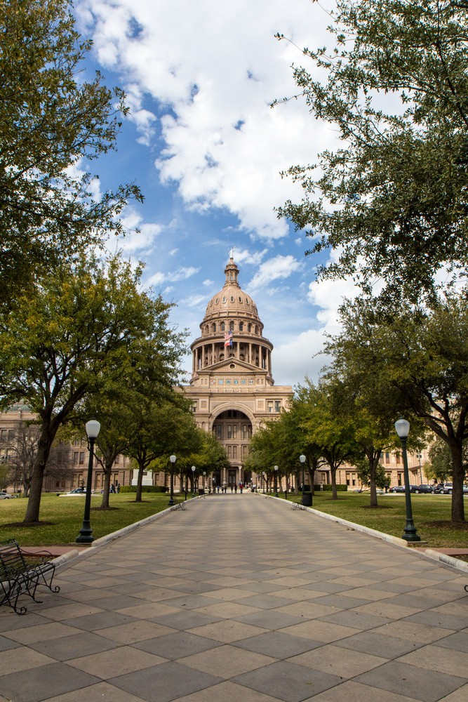 Congress Ave And Texas State Capitol