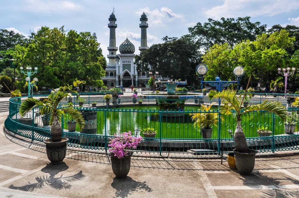 Mosque And A Fountain In Malang
