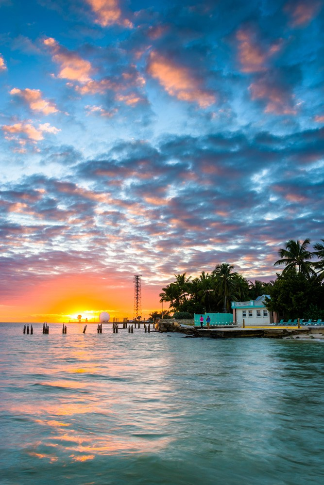 Sunset Over The Gulf Of Mexico From The Southernmost Point In Key West, Florida