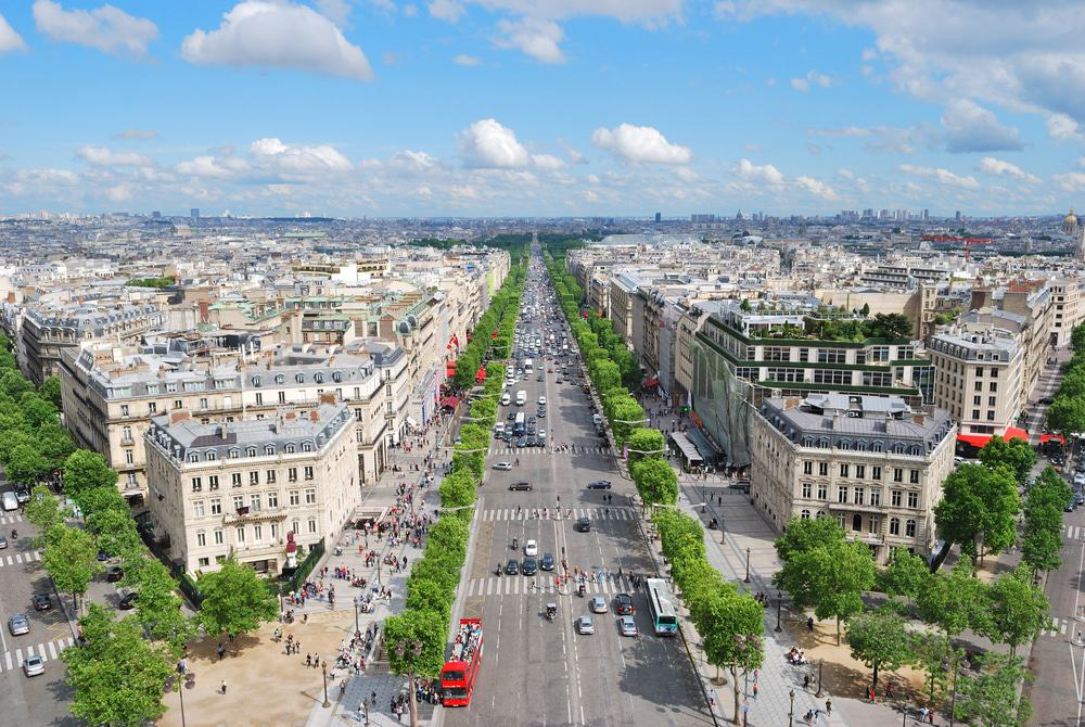 View of the Champs Elysees from the Arc de Triomphe