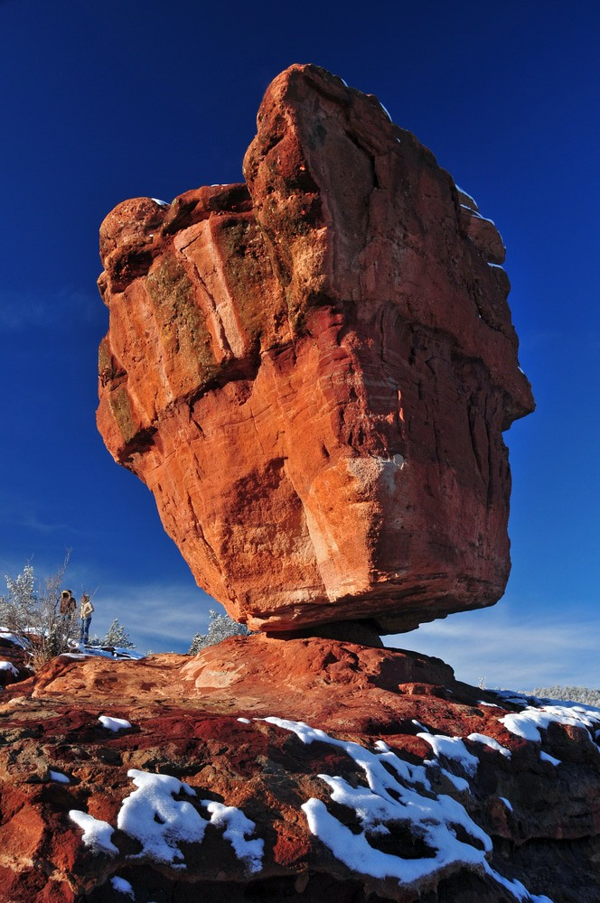 Balanced rock in the Garden of the Gods in Colorado Springs, Colorado