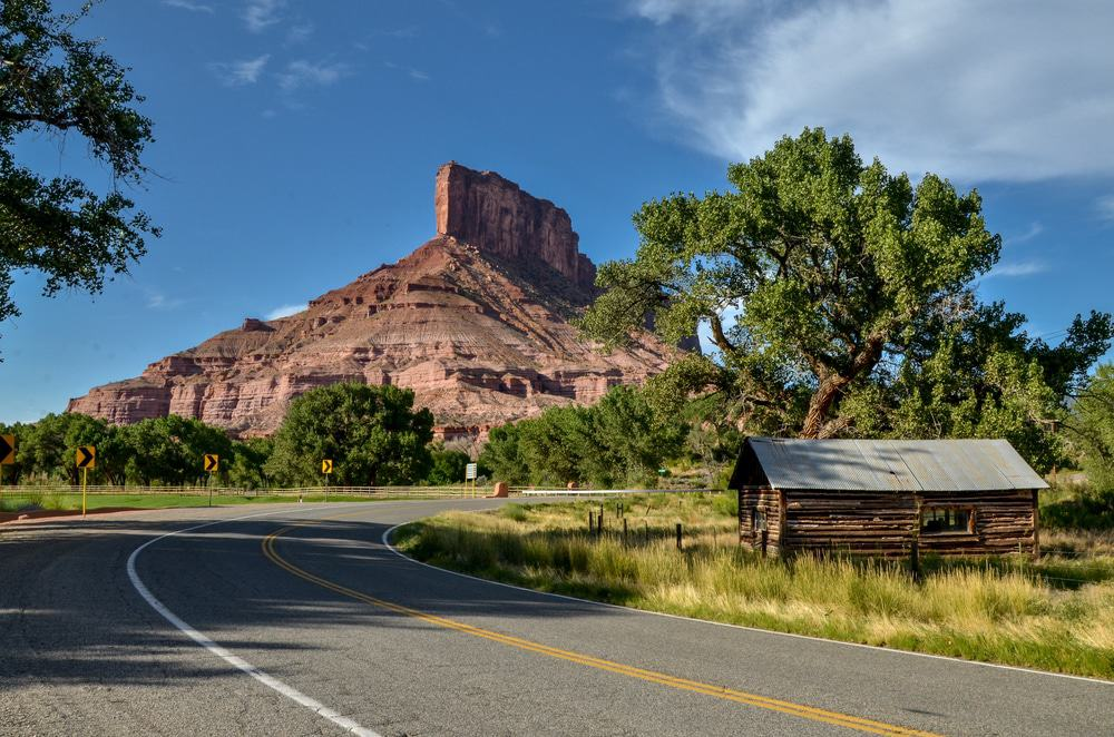 The Palisade butte view from Unaweep-Tabeguache scenic byway Gateway, Mesa County, Colorado, USA