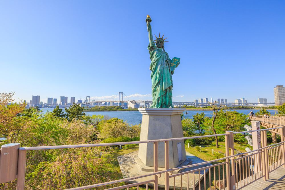 Odaiba Island with replica of Statue of Liberty