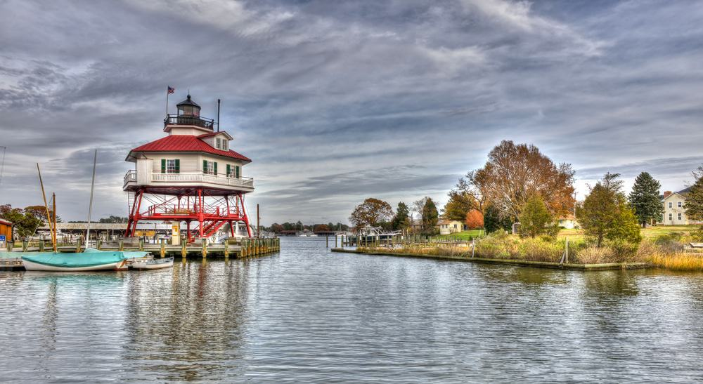 The Drum point Lighthouse on the Chesapeake Bay in Maryland