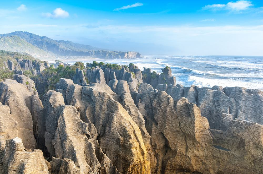 Punakaki Pancake Rocks in Paparoa National Park, West Coast, South Island, New Zealand