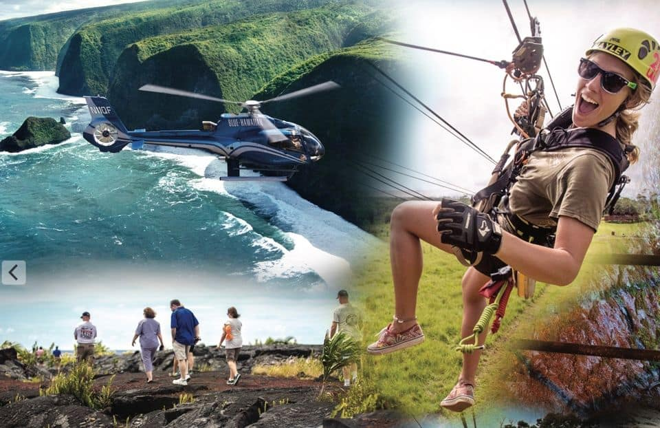 Helicopter, Zip-Line & Volcano Tour