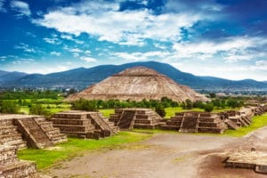 Pyramids of the Sun and Moon on the Avenue of the Dead, Teotihuacan