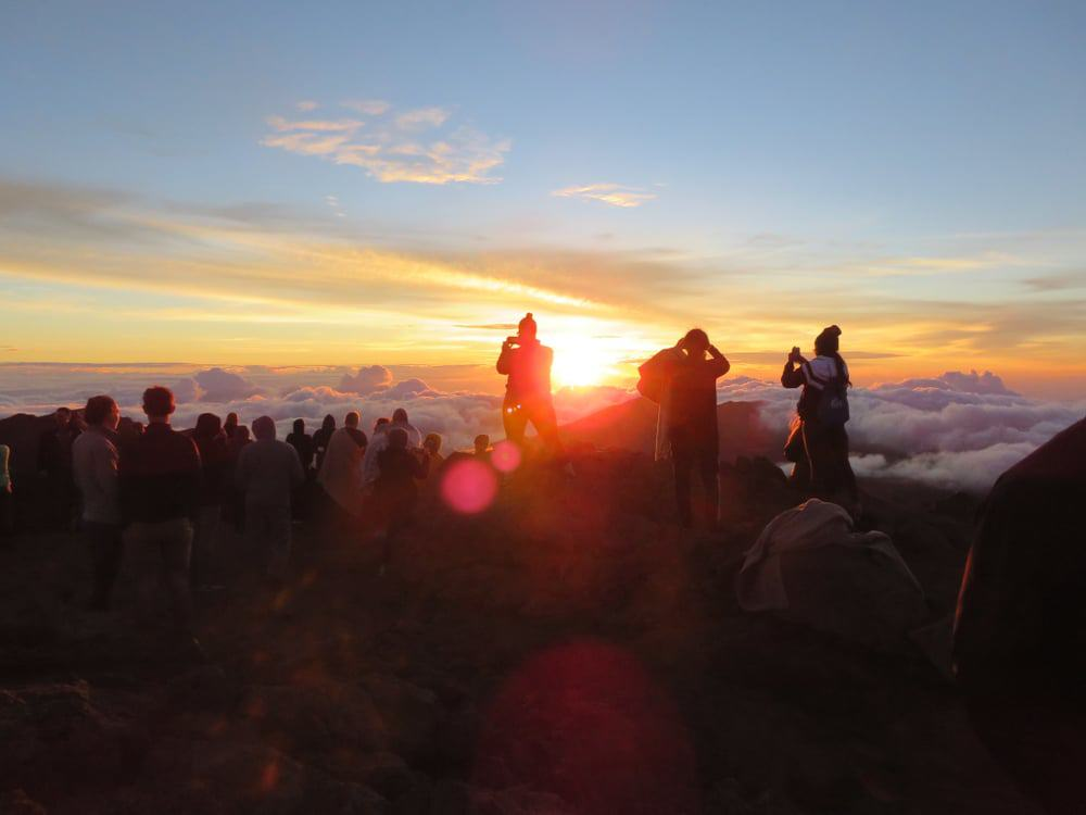 Sunrise on Haleakala National Park on Haleakala Peak on Maui