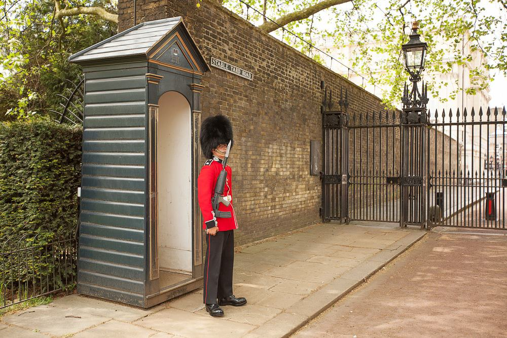 Queens Guard on duty at the entrance to Clarence House