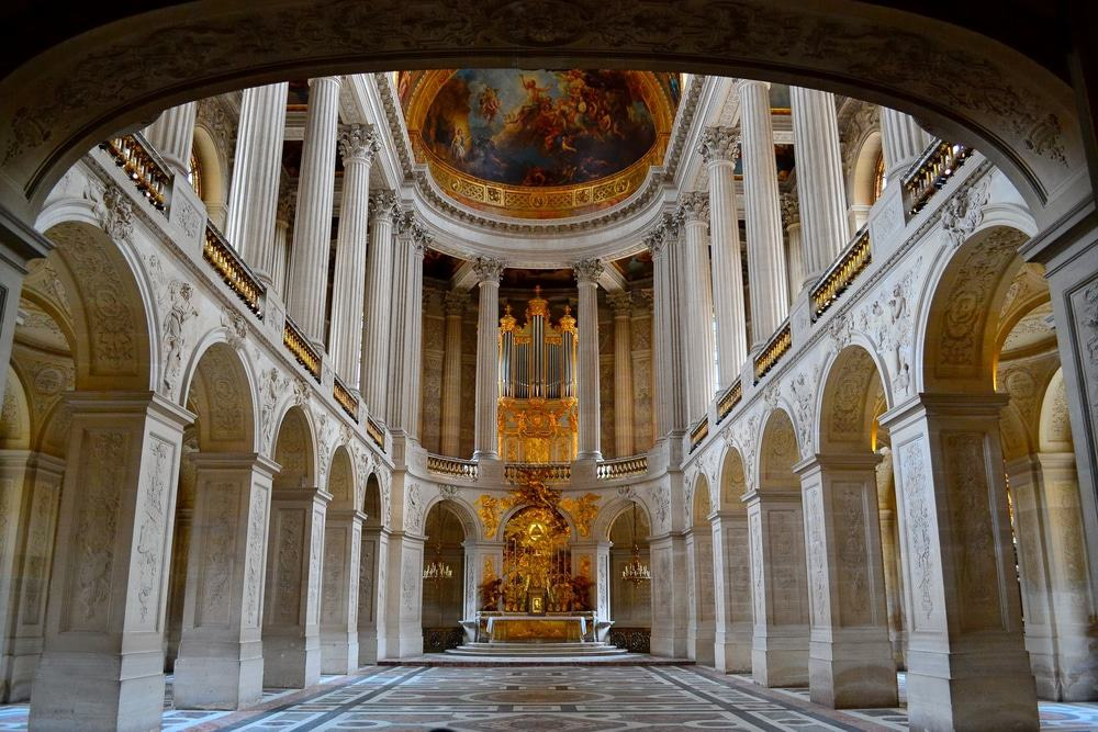 Interior view of Royal Chapel of Versailles Palace