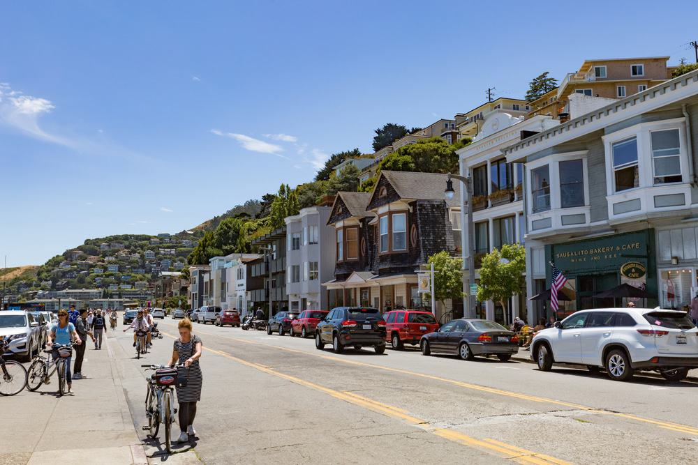Bridgeway street in the city of Sausalito