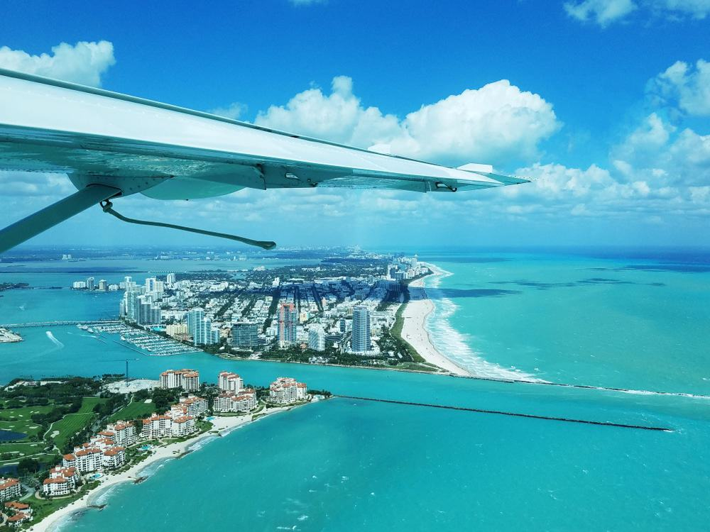 Seaplane over Miami Beach