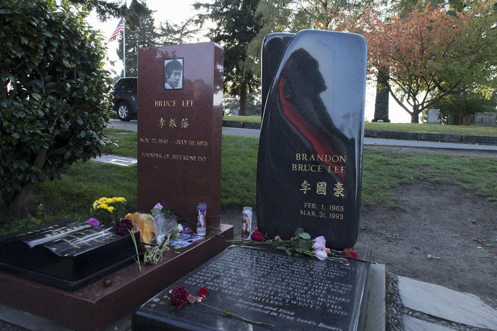 Bruce Lee and Brandon Bruce Lee's Grave