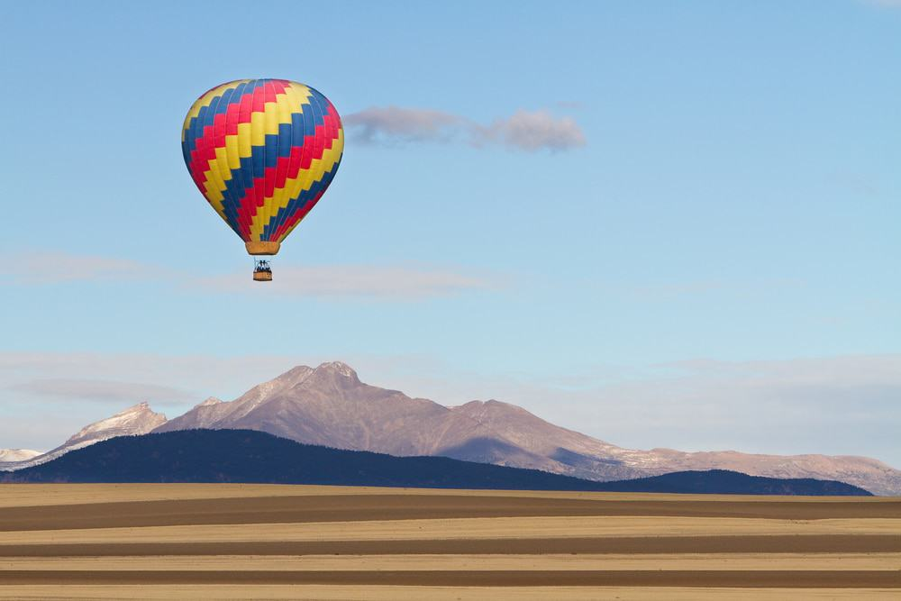 Hot Air Balloon Over Colorado Rocky Mountains