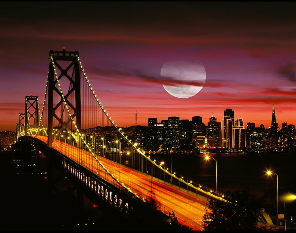 Full Moon and San Francisco New Bay Bridge