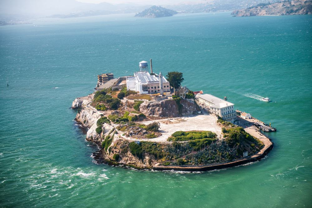 Aerial helicopter view of Alcatraz Island