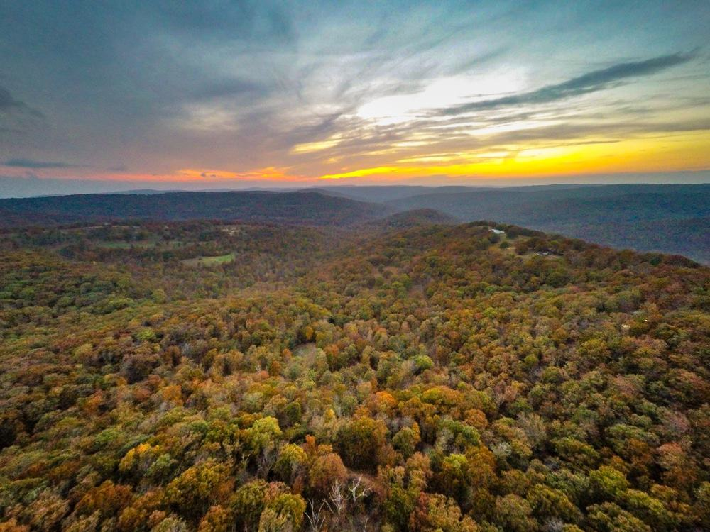 aerial view of the Ozark Mountains