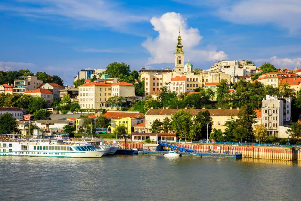 Historic center of Belgrade on the banks of the Sava River