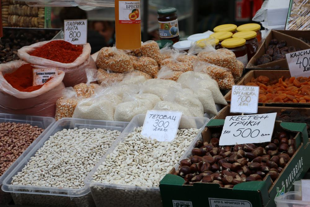 Market in Belgrade with Typical Serbian Food