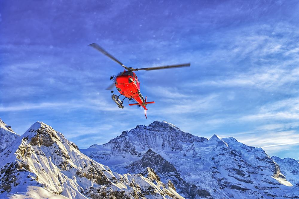 Helicopter in the Swiss Alps