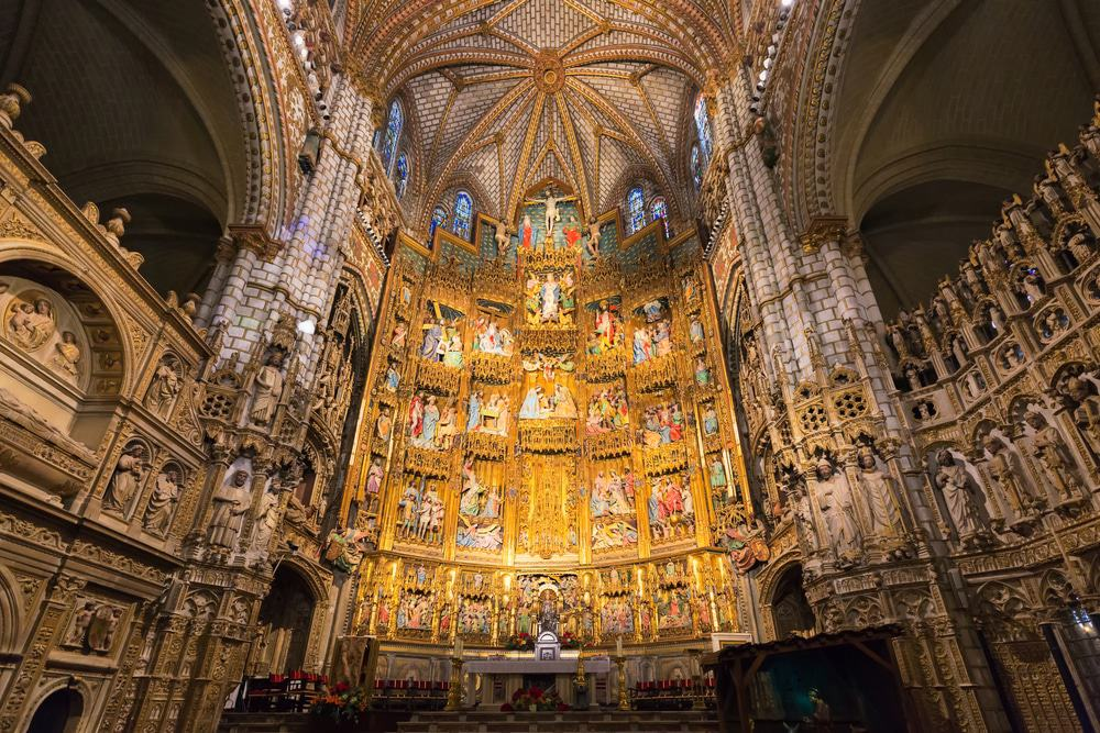 Interior of Cathedral of Saint Mary in Toledo