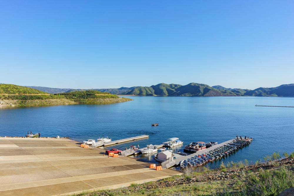 Sunny View of a Dock of Lake Elsinore